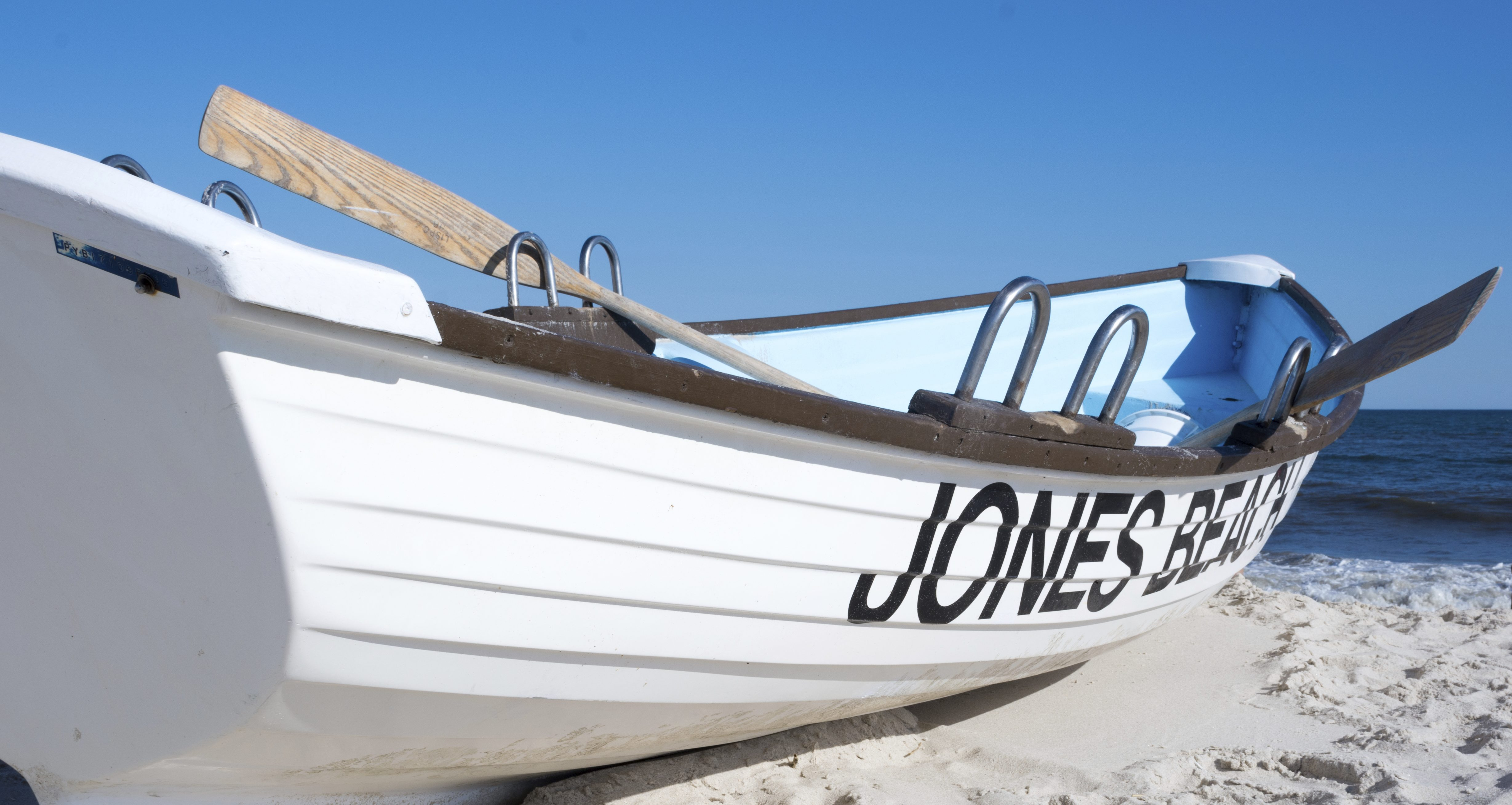 A boat docked offshore at Jones Beach on the south shore of Long Island, New York on 5 July 2014