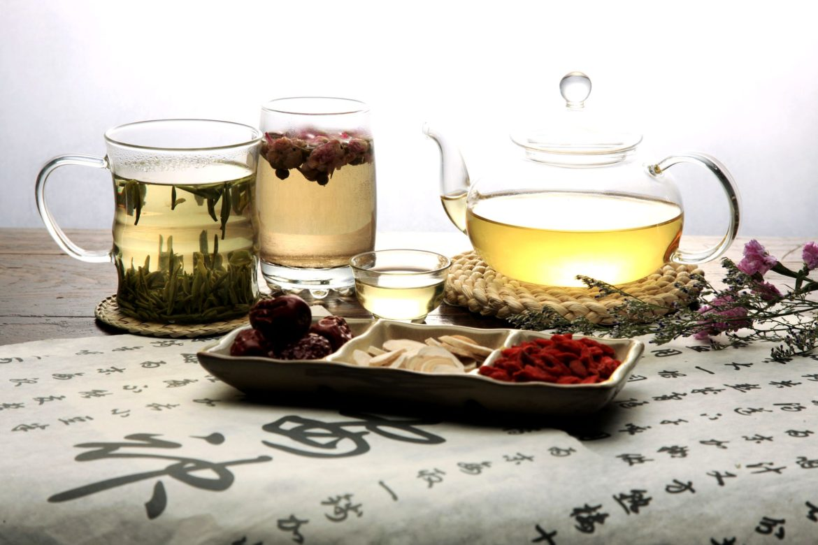 Chinese herbal medicine and tea set,still life