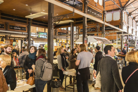 Madrid, Spain - Jan 25, 2016:  People eat and drink at Mercado San Miguel on January 25th, 2016 in Madrid, Spain. According to Tripadvisor it is one of top tourist sites in Madrid.