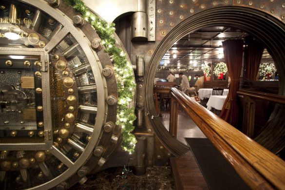 Interior of Bobby Van's Steakhouse at Broad St., New York has a bank vault, Dec. 12, 2013. (Samira Bouaou/Epoch Times)